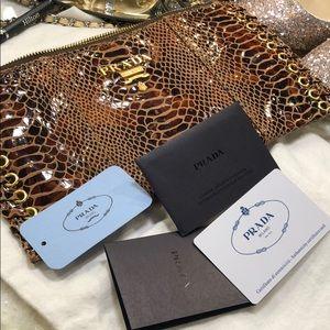 Auth PRADA Wristlet In Snake Print leather